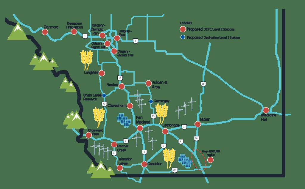 Peaks to Prairies EV Charging Stations in Southern Alberta